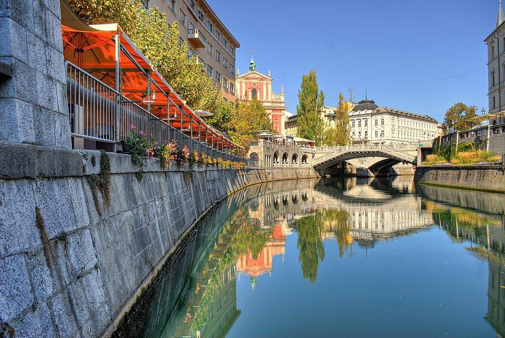 Liublianica el río del amor en Liubliana - Eslovenia