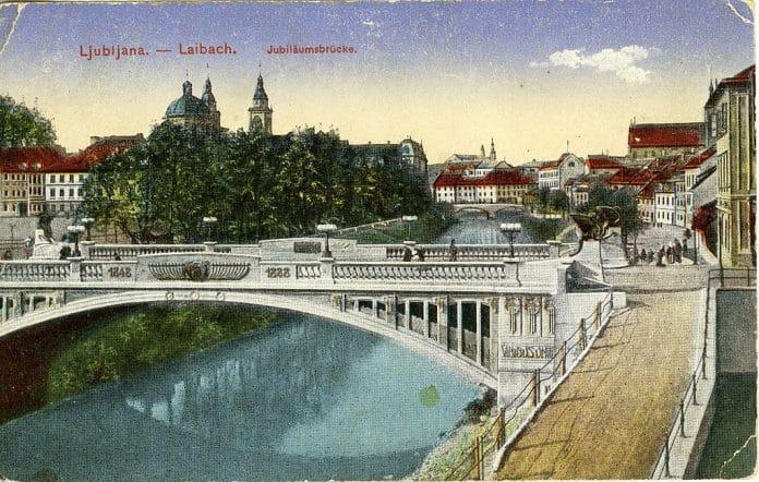 Postal-del-Puente-de-los-Dragones-en-1910-en-Liubliana-Eslovenia
